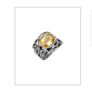 Citrine & Sterling silver floral filigree ring .